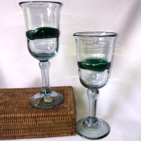 Mexican Handblown Wine Glasses Amethyst Color-13 oz. Set of 4